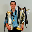 Jonathan Sexton of Leinster with the Champions Cup and PRO14 trophies following the Guinness PRO14 Final between Leinster and Scarlets at the Aviva Stadium in Dublin. Photo by Ramsey Cardy/Sportsfile
