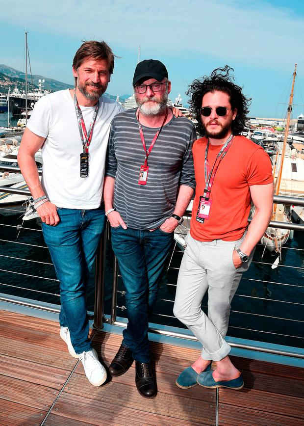 Nikolaj Coster-Waldau, Liam Cunningham and Kit Harington pose for a photo on the Red Bull Racing Energy Station during the Monaco Formula One Grand Prix at Circuit de Monaco on May 26, 2018 in Monte-Carlo, Monaco. (Photo by Eamonn M. McCormack/Getty Images)