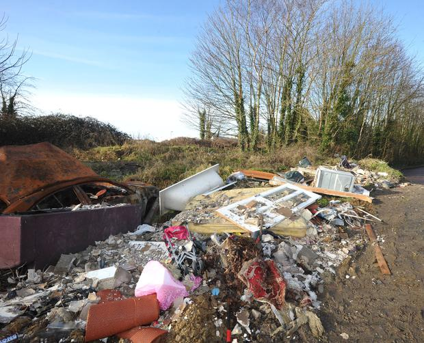 Baths, cars, building and domestic rubbish dumped beside Beaufort College Navan. Pic Seamus Farelly