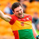 Conor Lawlor of Carlow celebrates after scoring a late goal against Kildare during the Leinster GAA Football Senior Championship Quarter-Final match between Carlow and Kildare at O'Connor Park in Tullamore, Offaly. Photo by Matt Browne/Sportsfile