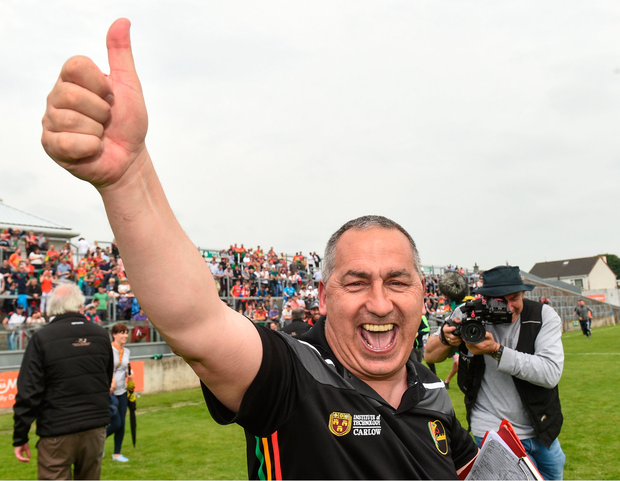 27 May 2018; Carlow manager Turlough O'Brien celebrates after the Leinster GAA Football Senior Championship Quarter-Final match between Carlow and Kildare at O'Connor Park in Tullamore, Offaly. Photo by Matt Browne/Sportsfile