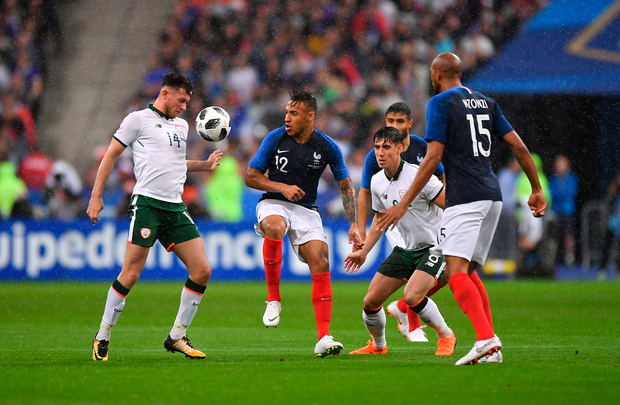 28 May 2018; Alan Browne of Republic of Ireland in action against Corentin Tolisso of France during the International Friendly match between France and Republic of Ireland at Stade de France in Paris, France. Photo by Seb Daly/Sportsfile