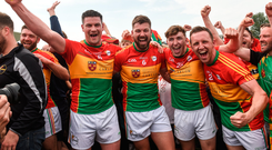 27 May 2018; Carlow players from left John Murphy, Daniel St Ledger, Conor Crowley and Chris Crowley celebrate after the Leinster GAA Football Senior Championship Quarter-Final match between Carlow and Kildare at O'Connor Park in Tullamore, Offaly. Photo by Matt Browne/Sportsfile