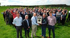 John Heslin MSD, Liam Egan Mullinahone Co-op (joint sponsor), Jan Jensma Irish Grassland Association (IGA) president, John Large host farmer and Jack O'Connor (MSD) joint sponsor, at the IGA sheep event on the large farm at Gortnahoe, Co Tipperary