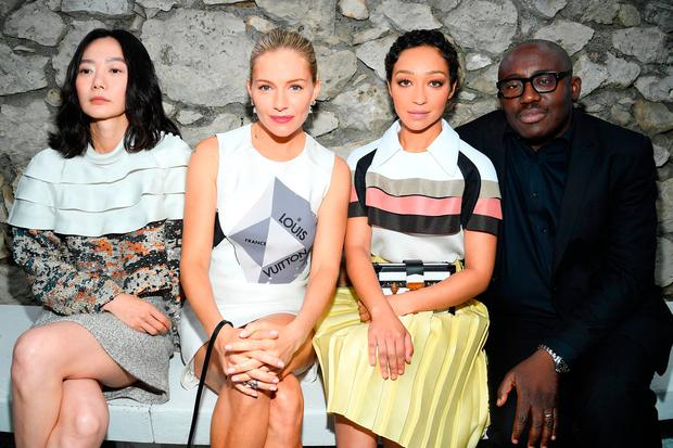 (L-R) Doona Bae, Sienna Miller, Ruth Negga and Edward Enninful attend Louis Vuitton 2019 Cruise Collection at Fondation Maeght on May 28, 2018 in Saint-Paul-De-Vence, France. (Photo by Pascal Le Segretain/Getty Images for Louis Vuitton)