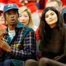 Travis Scott and Kylie Jenner attend Game Seven of the Western Conference Finals of the 2018 NBA Playoffs between the Houston Rockets and the Golden State Warriors at Toyota Center on May 28, 2018 in Houston, Texas