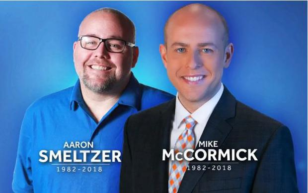 Aaron Smeltzer and Mike McCormick died when a tree fell on their car CREDIT: WYFF NEWS 4