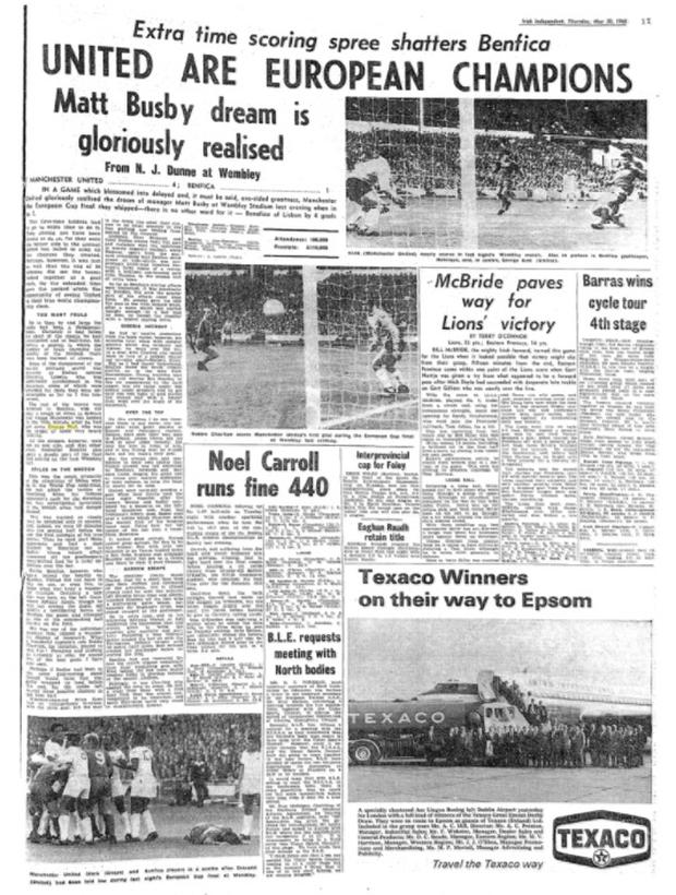 How the Irish Independent reported United's win in 1968
