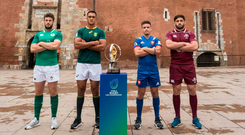 Irish captain Caelan Doris with Pool C opponents Salmaan Moerat (South Africa), Arthur Coville (France) and Beka Saginadze (Georgia) at Perpignan's iconic fortifications before the World U-20 Championship. Photo: Sportsfile
