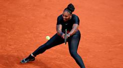 Serena Williams of the U.S. in action during her first round match against Czech Republic's Kristyna Pliskova REUTERS/Christian Hartmann
