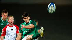 2 February 2018; Harry Byrne of Ireland in action during the U20 Six Nations Rugby Championship match between France and Ireland at Brive, in France. Photo by Manuel Blondeau/Sportsfile