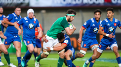 30 May 2018; Caelan Doris of Ireland is tackled by Adrien Seguret of France during the World Rugby U20 Championship 2018 Pool C match between France and Ireland at the Stade Aime Giral in Perpignan, France. Photo by Willy Mellet/Sportsfile