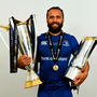 26 May 2018; Isa Nacewa poses for a portrait with the Champions Cup and the Guinness PRO14 Trophy, following the Guinness PRO14 Final match between Leinster and Scarlets at the Aviva Stadium in Dublin. Photo by Ramsey Cardy/Sportsfile