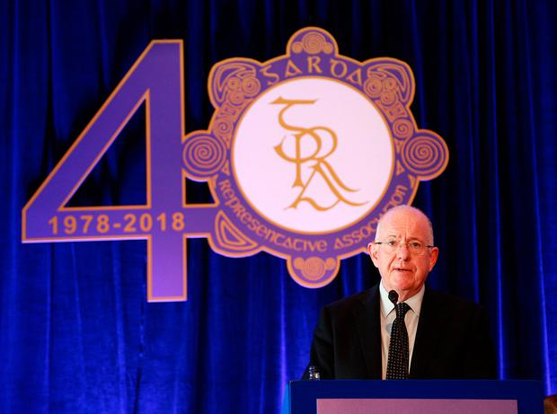 Justice and Equality Minister Charlie Flanagan addresses the GRA yesterday. Photo: Karen Morgan