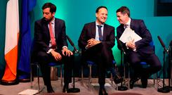 Taoiseach Leo Varadkar with Finance Minister Paschal Donohoe (right) and Housing Minister Eoghan Murphy at the launch of the Project Ireland 2040 funds in Government Buildings, Dublin. Picture: PA