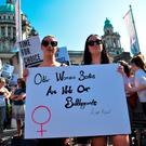 Campaign group Solidarity with Repeal holding a rally calling for abortion rights outside Belfast City Hall. Photo: Charles McQuillan/Getty Images