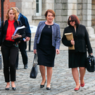 Former Garda commissioner Nóirín O'Sullivan, right, arriving in Dublin Castle yesterday. Photo: Gareth Chaney