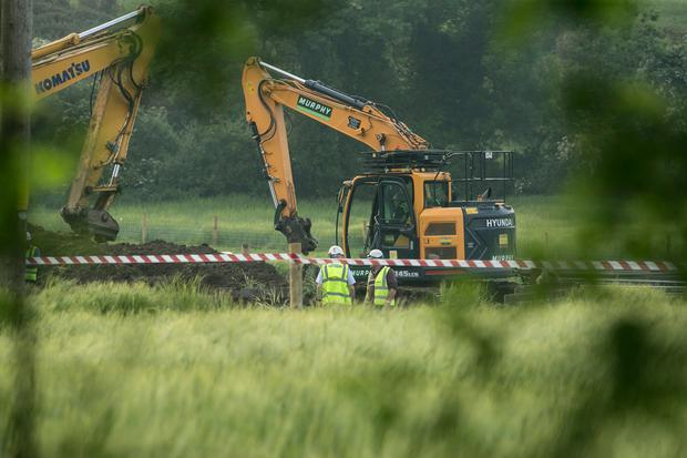 Repair work underway at the burst water main outside Donore Co Louth (Photo: Kyran O'Brien)