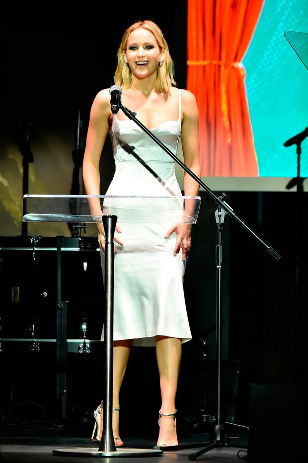 Jennifer Lawrence speaks onstage during the BAM Gala 2018 honoring Darren Aronofsky, Jeremy Irons, and Nora Ann Wallace at Brooklyn Cruise Terminal on May 30, 2018 in New York City. (Photo by Theo Wargo/Getty Images for Brooklyn Academy of Music)