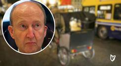 A rickshaw in Dublin city centre and inset, Transport Minister Shane Ross