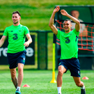 Graham Burke, right, and Alan Browne during training