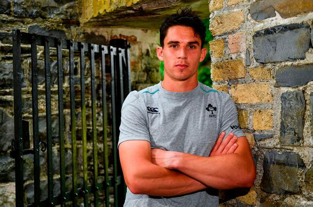 Joey Carbery poses for a portrait following an Ireland press conference at Carton House in Maynooth, Co. Kildare. Photo: Ramsey Cardy/Sportsfile