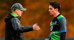 Ireland head coach Joe Schmidt with Munster-bound out-half Joey Carbery. Photo: Matt Browne/Sportsfile