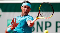 Rafael Nadal in action during his second round match against Argentina's Guido Pella. Photo: REUTERS/Benoit Tessier