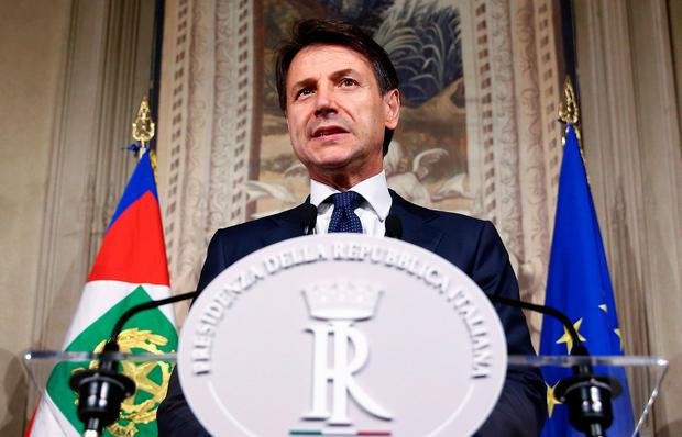 Italy's Prime Minister-designate Giuseppe Conte speaks to the media at the Quirinale Palace in Rome last night. Photo: REUTERS/Alessandro Bianchi