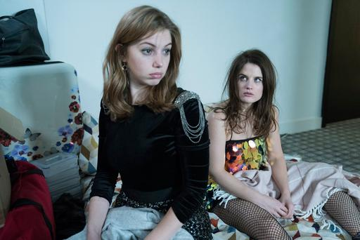 On a distinct downer: Aisling (Seána Kerslake) and Danielle (Nika McGuigan) in Can't Cope, Won't Cope