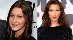 Bella Hadid in 2010, left, and in 2018, right