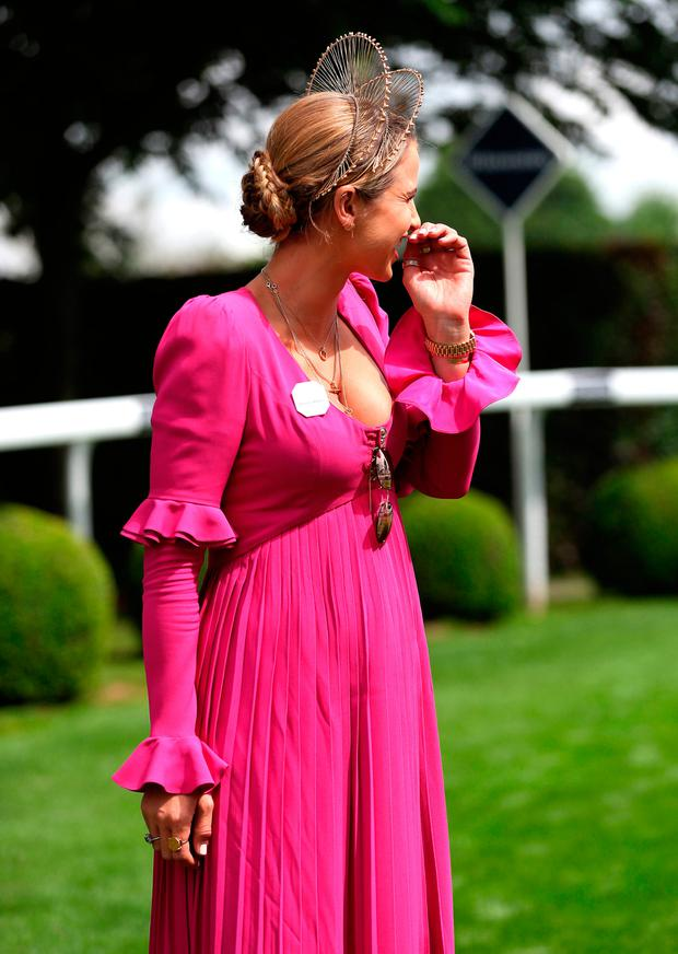 Vogue Williams during ladies day of the 2018 Investec Derby Festival at Epsom Downs Racecourse, Epsom