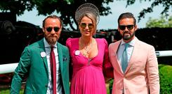 James Middleton, Vogue Williams and Spencer Matthews during ladies day of the 2018 Investec Derby Festival at Epsom Downs Racecourse, Epsom