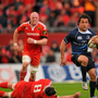 Isa Nacewa, Leinster, supported by team-mate Nathan Hines escapes the attention of James Coughlan, 8, and Paul O'Connell, Munster