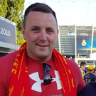 Liverpool fans Jackie Cahill (centre), his brother Andrew (right) and his friend Paul Daly outside the NSK Olimpiyskiy Stadium in Kiev last Saturday
