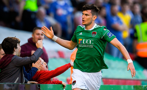 Cork City's Graham Cummins celebrates after scoring his side's second goal. Photo: Sportsfile