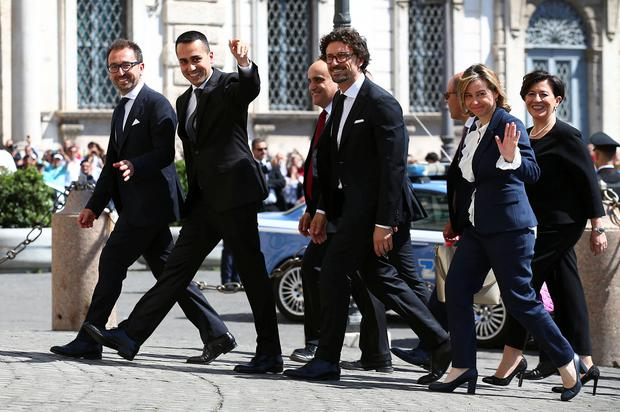 Luigi Di Maio, leader of the Five-Star movement and Italy's new Labour and Industry Minister with party colleagues at the Quirinal palace in Rome, Italy. Photo: Reuters