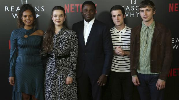 Alisha Boe, from left, Katherine Langford, Derek Luke, Dylan Minnette and Miles Heizer arrive at the 13 Reasons Why FYSEE Event in Los Angeles (Willy Sanjuan/Invision/AP)