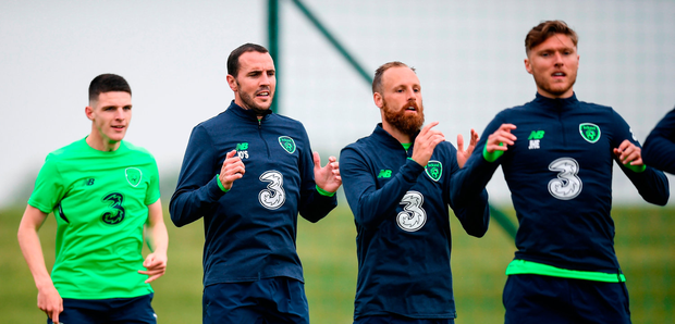 ohn O'Shea, second from left, with his Republic of Ireland team-mates Declan Rice, left, David Meyler and Jeff Hendrick