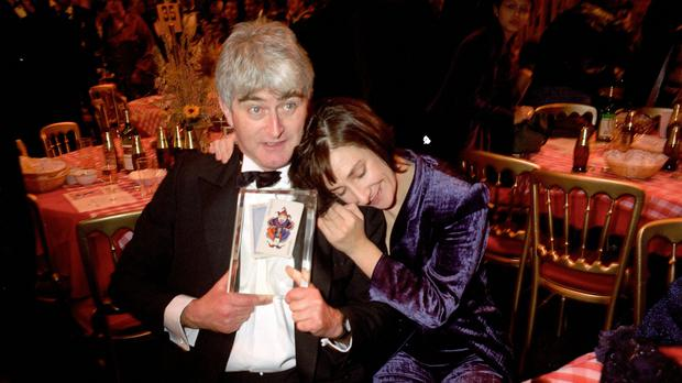 The late Dermot Morgan and his co-star Pauline McLynn at the British Comedy Awards (REX)