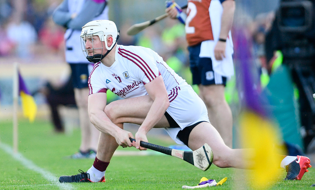 2 June 2018; Joe Canning of Galway watches his sideline cut during the Leinster GAA Hurling Senior Championship Round 4 match between Wexford and Galway at Innovate Wexford Park in Wexford. Photo by Ramsey Cardy/Sportsfile