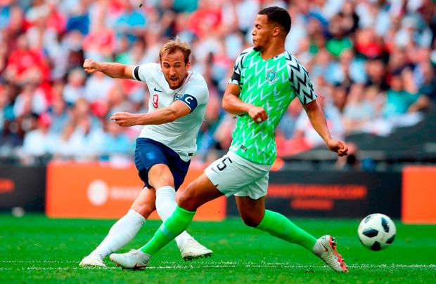 England's Harry Kane scores his side's second goal of the game during the international friendly match against Nigeria at Wembley: Photo: Nick Potts/PA