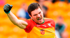 Carlow's Conor Lawlor celebrates after scoring a late goal in the win over Kildare in the Leinster championship last Sunday. Photo: Matt Browne/Sportsfile