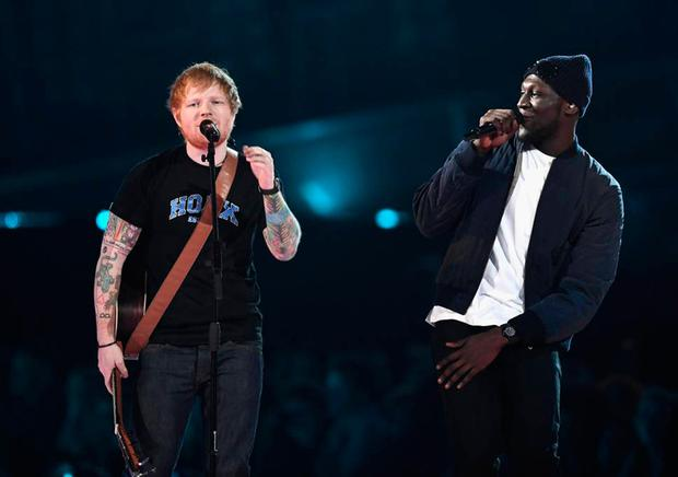 Winners: Ed Sheeran and Stormzy performing together