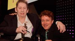 Tribute: Shane MacGowan with Aidan Gillen, who presented his award at the Ivor Novello ceremony. All photos: Mark Allan