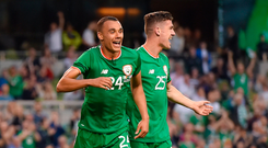 2 June 2018; Graham Burke, left, of Republic of Ireland celebrates after scoring his side's first goal with teammate Darragh Lenihan during the International Friendly match between Republic of Ireland and the United States at the Aviva Stadium in Dublin. Photo by Seb Daly/Sportsfile