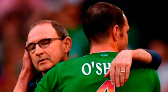 Ireland manager Martin O'Neill embraces John O'Shea after he was substituted during last night's International Friendly match between Republic of Ireland and the United States at the Aviva Stadium. Photo: Stephen McCarthy/Sportsfile