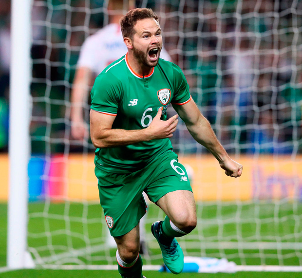 Ireland's Alan Judge celebrates scoring the winning goal during the International Friendlyat the Aviva Stadium. Photo: Brian Lawless/PA