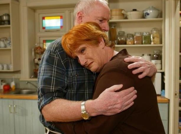 SOAP STAR: Cornelia Frances, who starred in Australian drama 'Home and Away' as the antagonistic lawyer Morag Bellingham, pictured with co-star Ray Meagher