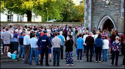Gardai gather amongst mourners at St. Brigids Church in Dunleer for the Vigil for Cameron Reilly earlier this week. Photo: Steve Humphreys